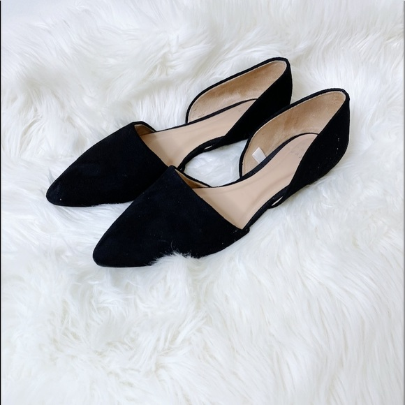 A NEW DAY Suede Black Flat Pointed Spring Flats